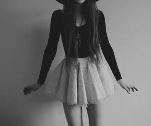 black and white, long hair, and style image