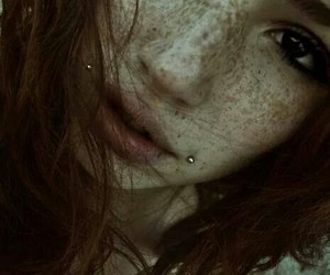 girl, piercing, and freckles image
