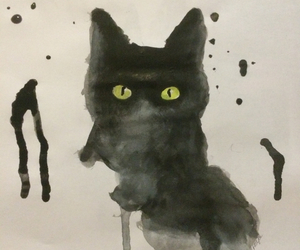 art, kitten, and painting image