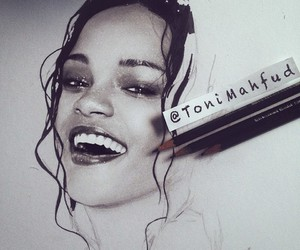 art, black and white, and rihanna image