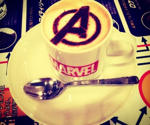 coffee, the avengers, and marvel. awesome image