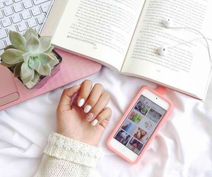 book, nails, and pink image