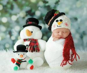 <3, baby, and snowman image