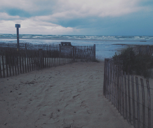 beach, dark, and rain image