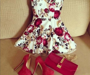 dress, high heels, and red image