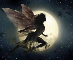 art, fairy, and moon image