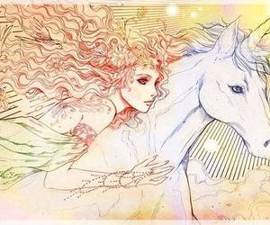 art, unicorn, and girl image