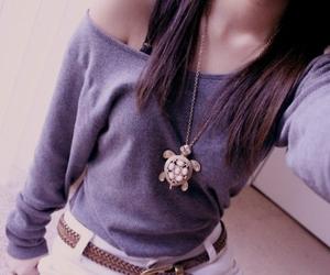 fashion, girl, and turtle image