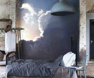 apartment, clouds, and art image