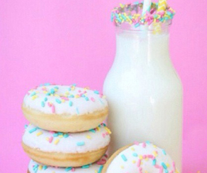 donuts, milk, and food image