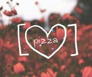 pizza, quote, and red image