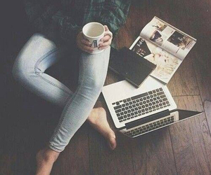 coffee, laptop, and book image