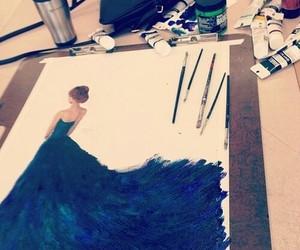 dress, art, and blue image