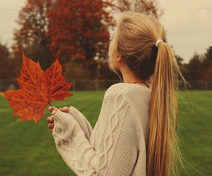 autumn, girl, and hair image