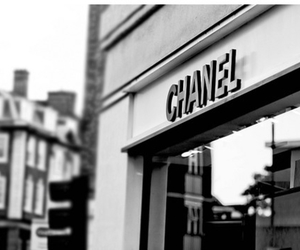 chanel, black and white, and shop image