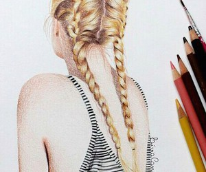 braid, girl, and pencil image