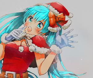 anime, blue, and christmas image