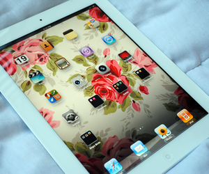 ipad, apple, and flowers image