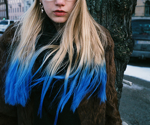 girl, ombre hair, and blue image