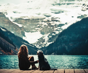 dog, girl, and mountains image