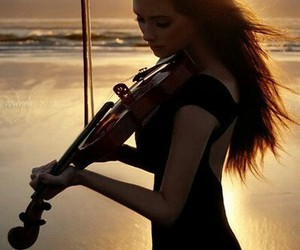 music, violin, and sunset image