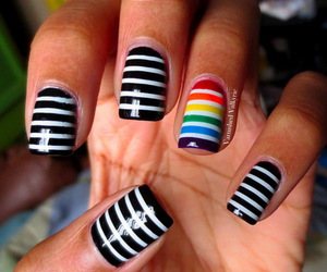 nails, black and white, and rainbow image