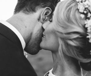 beautiful, black and white, and wedding image