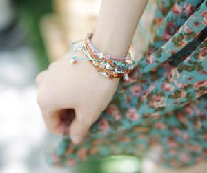 bracelet, dress, and floral image