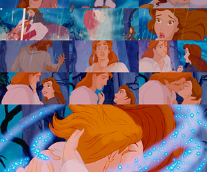 belle, disney, and kiss image