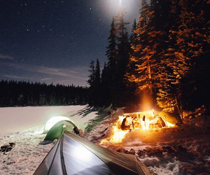 night, snow, and camping image