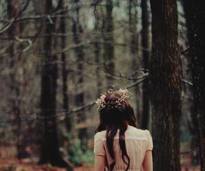 brunette, forest, and garland image