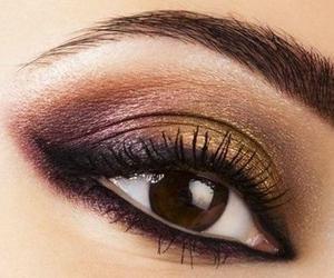 makeup, brown, and eye image