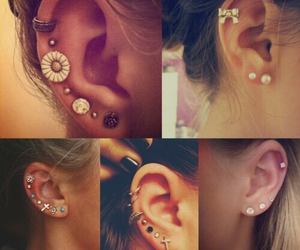 ear, earrings, and piercing image