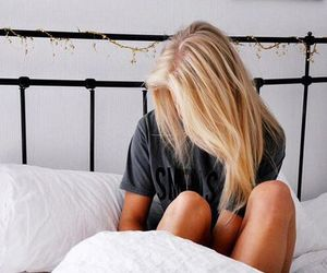 bed, girl, and hair image