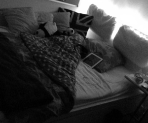 b&w, bed, and bedroom image