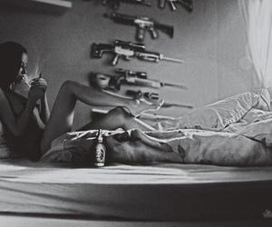 black and white, girls, and guns image