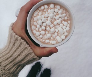 marshmallows, winter, and hot chocolate image