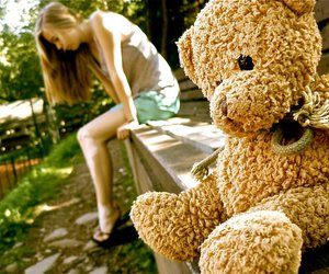 bear, girl, and alone image