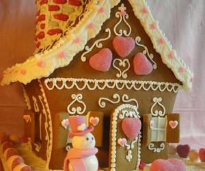 christmas, cake, and gingerbread house image