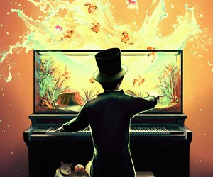 cats, piano, and boy image