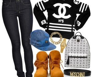 chanel jumper timberlands and moschino bracelet image