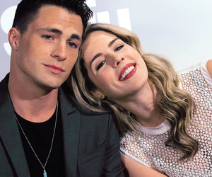 colton haynes, arrow, and emily bett rickards image