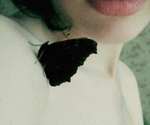 butterfly, black, and lips image