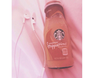 coffee, earphones, and frappuccino image