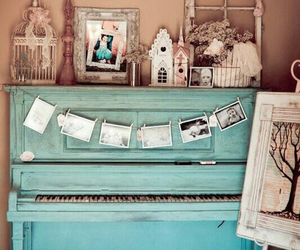 piano, vintage, and blue image