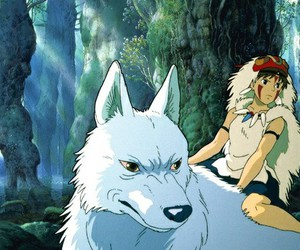 princess mononoke, wolf, and princess image