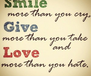 love, smile, and give image