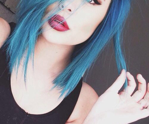 blue hair, lipstick, and gorgeous image