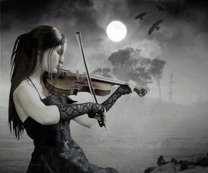 violin, music, and moon image