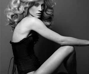black and white, editorial, and curls image